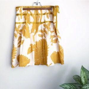 Gap floral ribbon full skirt mustard